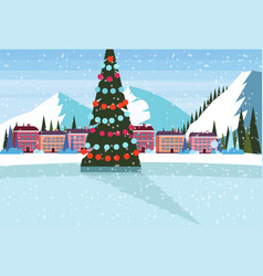 ice skating rink decorated christmas tree ski vector image