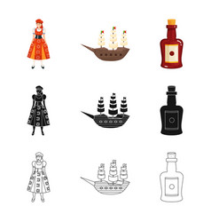 Isolated object and historic logo collection vector