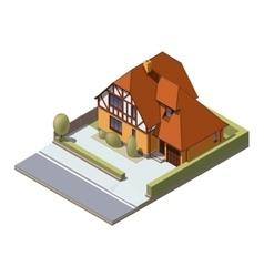 Isometric suburban building vector