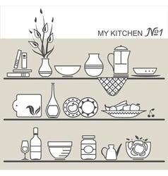 Kitchen utensils on shelves 1 vector image