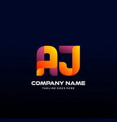 Letter aj initial logo with colorful vector