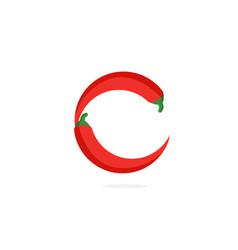 Logo red chili pepper letter c vector