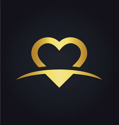 love heart valentine gold logo vector image