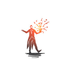 magician man trick hat show concept hand vector image