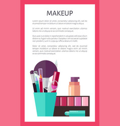 Makeup tools and decorative cosmetics promo poster vector