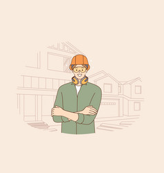 male engineers during work concept vector image