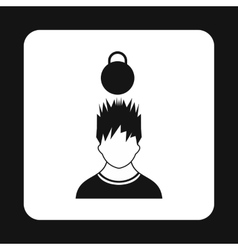 Man with the weight over head icon simple style vector