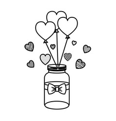 mason jar with heart shaped party balloons vector image