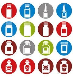 Medical bottles icon set vector