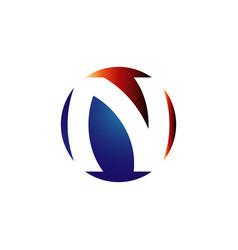 n initial letter n logo design on stylish vector image
