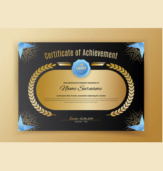 Official black certificate with blue black design vector