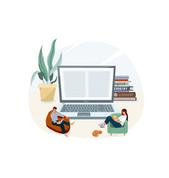 online home e-learning education vector image