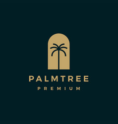 palm tree gold logo icon vector image
