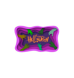 paper cut halloween backgrounds zombie hands vector image