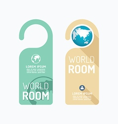 Paper door handle lock hangers concept world room vector