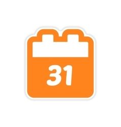 Paper sticker on white background calendar vector