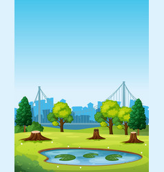 Park scene with pond and chopped trees vector