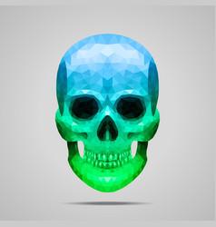 Polygonal blue green skull vector image
