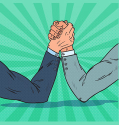 pop art businessman hands armwrestling vector image