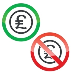 Pound sterling permission signs vector
