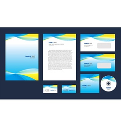 Professional corporate identity yellow blue white vector image