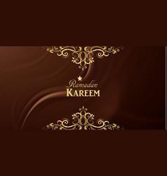 ramadan kareem with ornament on silkl vector image