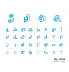 real estste and rent apartment isometric line vector image