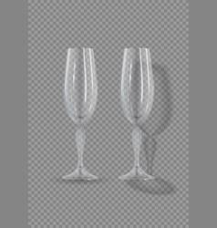 realistic empty glasses champagne vector image