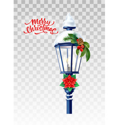 Realistic streetlight with snowcap new year vector