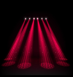 Red spotlights on dark background vector