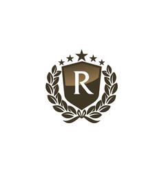 Royal vip shield leaf initial r vector
