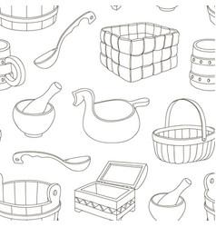 Rustic wooden utensils pattern vector