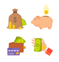 sack with money and wallet set vector image