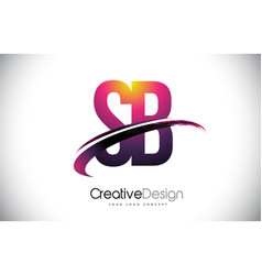 Sb s b purple letter logo with swoosh design vector