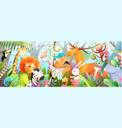 scout kids jungle animals and nature adventures vector image