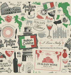 seamless pattern on theme italian cuisine vector image