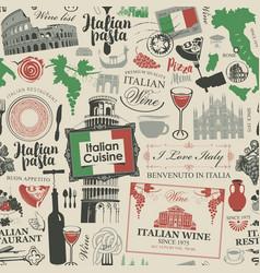 Seamless pattern on theme italian cuisine vector