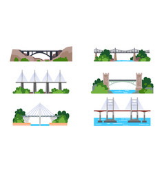 set isolated bridge icons iron and stone arch vector image