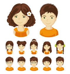 Set of children faces vector