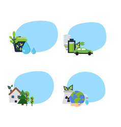 set stickers with ecology flat icons vector image