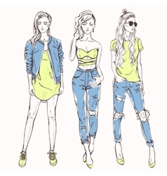 Set with trendy girls vector