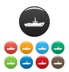 ship fishing icons set color vector image