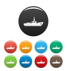 ship fishing icons set color vector image