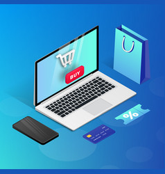 shopping online laptop blue isometric vector image