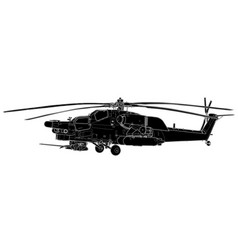 Sketch of mi-28 havoc military helicopter vector