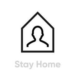 Stay home protection measures icon editable line vector