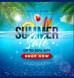 summer sale design with beach holiday elements vector image