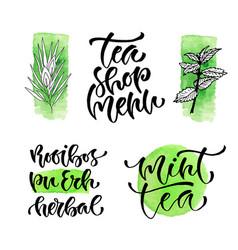 Tea shop menu calligraphic phrase for cover vector