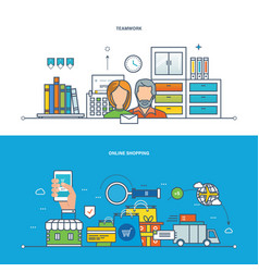 Teamwork workplace shopping business finance vector