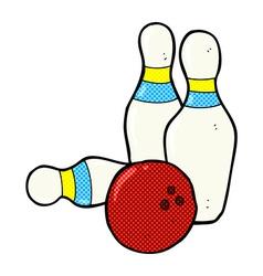 ten pin bowling comic cartoon vector image